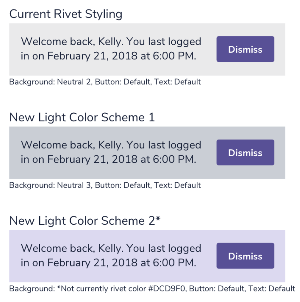 Examples of three different toast notifications all displaying the same generic welcome message. Each has a different combination of colors on the button, text, and background